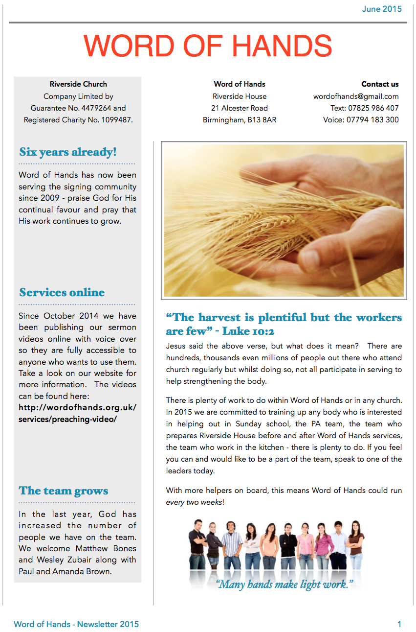 WOH Newsletter Page 1