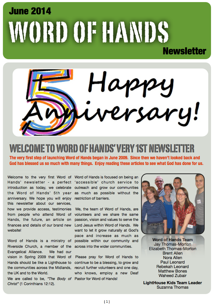 WoH Newsletter Pg.1